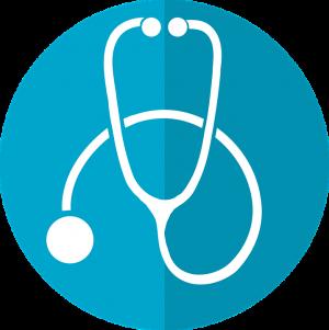 Stethoscope drawing on blue background